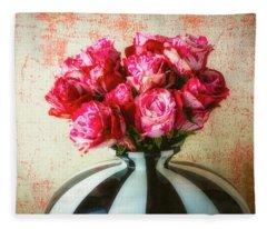 Roses In Large Black And White Vase Fleece Blanket
