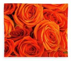Roses In Orange Fleece Blanket