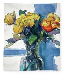 Roses In Vase Still Life I Fleece Blanket