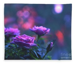 Roses With Evening Tint Fleece Blanket