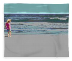 Rosie On The Beach Fleece Blanket