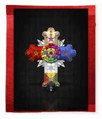 Rosy Cross - Rose Croix  Fleece Blanket
