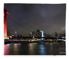 Rotterdam - Willemsbrug At Night Fleece Blanket