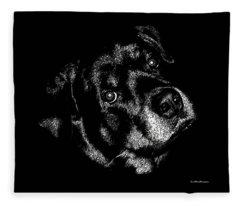 Rottweiler Mozart Portrait Fleece Blanket