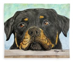 Rottweiler's Sweet Face 2 Fleece Blanket