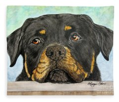 Rottweiler's Sweet Face 2 Fleece Blanket