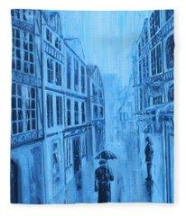 Rouen In The Rain Fleece Blanket