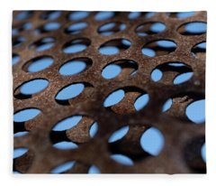 Rough Metal Abstract With Blue Holes In Green Bay Wisconsin Fleece Blanket