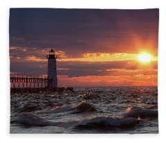 Rough Water Sunset Fleece Blanket