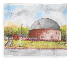 Round Barn In Route 66, Arcadia, Oklahoma Fleece Blanket