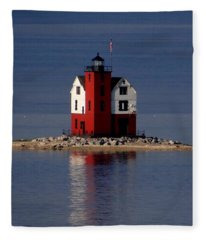 Round Island Lighthouse In The Morning Fleece Blanket