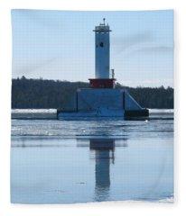 Round Island Passage Light In Winter Fleece Blanket