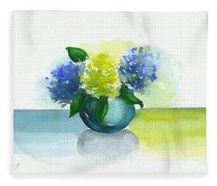Round Vase Hydrangeas Fleece Blanket