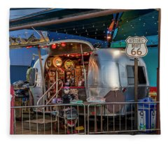 Route 66 And Airstream On Tha Pier Fleece Blanket