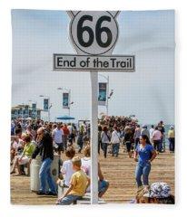 Route 66 - End Of The Trail Santa Monica Pier Fleece Blanket