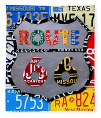 Route 66 Highway Road Sign License Plate Art Fleece Blanket