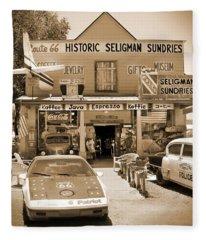 Route 66 - Historic Sundries Fleece Blanket