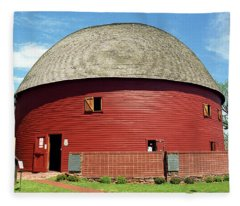 Route 66 - Round Barn Fleece Blanket