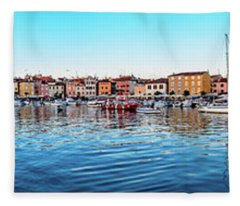 Rovinj Harbor And Boats Panorama Fleece Blanket