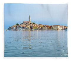 Rovinj In The Early Morning Fog, Istria, Croatia Fleece Blanket