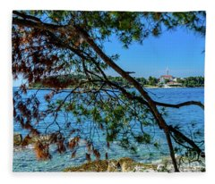 Rovinj Old Town Accross The Adriatic Through The Trees Fleece Blanket