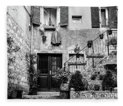 Rovinj Old Town Courtyard In Black And White, Rovinj Croatia Fleece Blanket