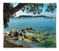 Rovinj Old Town, Harbor And Sailboats Accross The Adriatic Through The Trees Fleece Blanket