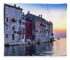 Rovinj Old Town On The Adriatic At Sunset Fleece Blanket