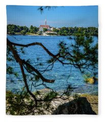Rovinj Seaside Through The Adriatic Trees, Istria, Croatia Fleece Blanket