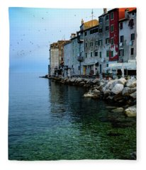 Rovinj Venetian Buildings And Adriatic Sea, Istria, Croatia Fleece Blanket