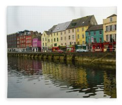 Row Homes On The River Lee, Cork, Ireland Fleece Blanket