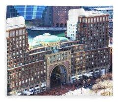 Rowes Wharf Building Fleece Blanket