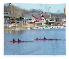 Rowing Along The Schuylkill River Fleece Blanket