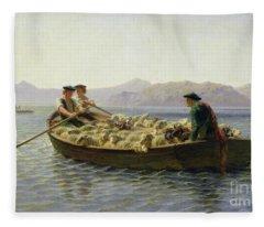 Rowing Boat Fleece Blanket
