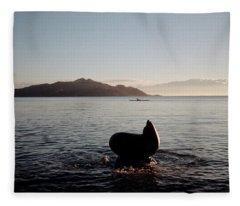 Rowing Off Sausalito, Ca Fleece Blanket