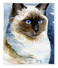Roxy - Ragdoll Cat Portrait Fleece Blanket