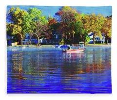 Roy And Boat Fall Fishing Fleece Blanket