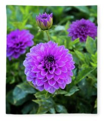 Royal Dahlia Delight Fleece Blanket