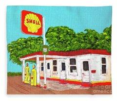 Rt 66 Shell Station Fleece Blanket