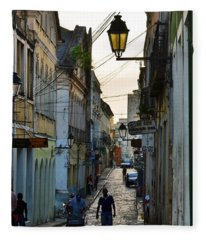 Alley At Dusk - Bahia, Brazil Fleece Blanket
