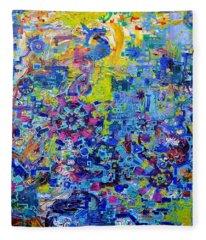 Rube Goldberg Abstract Fleece Blanket