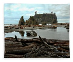 Ruby Beach Driftwood Fleece Blanket