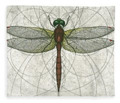 Ruby Meadowhawk Dragonfly Fleece Blanket