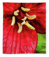 Ruby Red Trillium Fleece Blanket