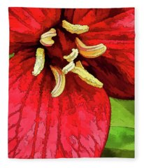 Ruby Red Trillium Fleece Blanket