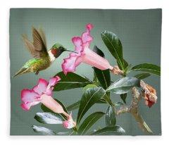Ruby-throated Hummingbird And Desert Rose Fleece Blanket