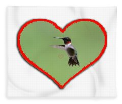 Ruby-throated Hummingbird In Heart Fleece Blanket
