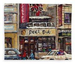 Rue Peel Montreal Winter Street Scene Paintings Peel Pub Cafe Republique Hockey Scenes Canadian Art Fleece Blanket