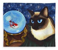 Rue Rue's Fortune - Siamese Cat Koi Fleece Blanket