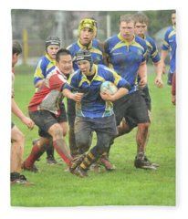 Rugby In The Mud Fleece Blanket